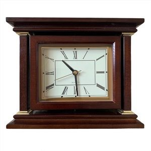 Wooden Clock Battery Powered Swivel Dark Wood